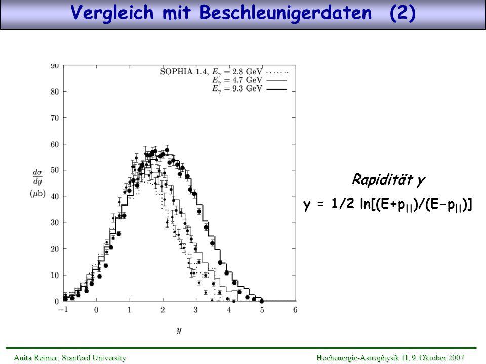 Vergleich mit Beschleunigerdaten (2) y = 1/2 ln[(E+p||)/(E-p||)]